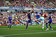Michael Keane of Burnley (c) gets his head to the ball and scores his teams 1st goal. Skybet football league championship match, Burnley  v Brentford at Turf Moor in Burnley, Lancs on Saturday 22nd August 2015.<br /> pic by Chris Stading, Andrew Orchard sports photography.