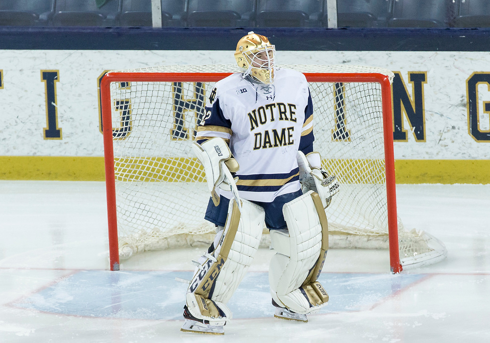 March 17, 2018:  Notre Dame goaltender Cale Morris (32) in net during NCAA Hockey game action between the Notre Dame Fighting Irish and the Ohio State Buckeyes at Compton Family Ice Arena in South Bend, Indiana.  John Mersits/CSM