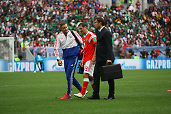 June 14, 2018 - Moscow, Russia - Russian Federation. Moscow. The Luzhniki Stadium. Match Opening of the World Cup 2018. Russia - Saudi Arabia. Solemn opening ceremony of the FIFA World Cup 2018. FIFA World Cup 2018. Player of the Russian national football team (in red)..Alan Dzagoev. (Credit Image: © Russian Look via ZUMA Wire)