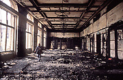 The burned out remains of Ceucescu palace in central Bucharest after the Romanian revolution succeeded in ousting from power the hated and feared dictator.