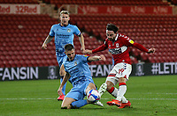 Middlesbrough's Patrick Roberts shoots under pressure from Coventry City's Dominic Hyam<br /> <br /> Photographer Alex Dodd/CameraSport<br /> <br /> The EFL Sky Bet Championship - Middlesbrough v Coventry City - Tuesday 27th October 2020 - Riverside Stadium - Middlesbrough<br /> <br /> World Copyright © 2020 CameraSport. All rights reserved. 43 Linden Ave. Countesthorpe. Leicester. England. LE8 5PG - Tel: +44 (0) 116 277 4147 - admin@camerasport.com - www.camerasport.com