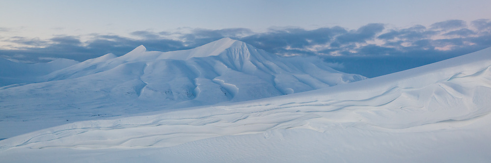 Helvetiafjellet at dusk in Adventdalen, Svalbard.