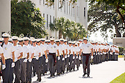 Members of the Citadel Military College corps of cadets march out of the barracks during the first Friday Dress Parade on September 6, 2013 in Charleston, South Carolina. The Friday Dress Parade is a tradition at the Citadel going back to 1843.