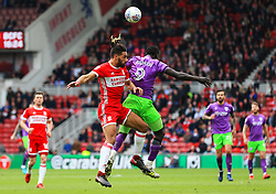 Ryan Shotton of Middlesbrough challenges Famara Diedhiou of Bristol City - Mandatory by-line: Matt McNulty/JMP - 14/04/2018 - FOOTBALL - Riverside Stadium - Middlesbrough, England - Middlesbrough v Bristol City - Sky Bet Championship