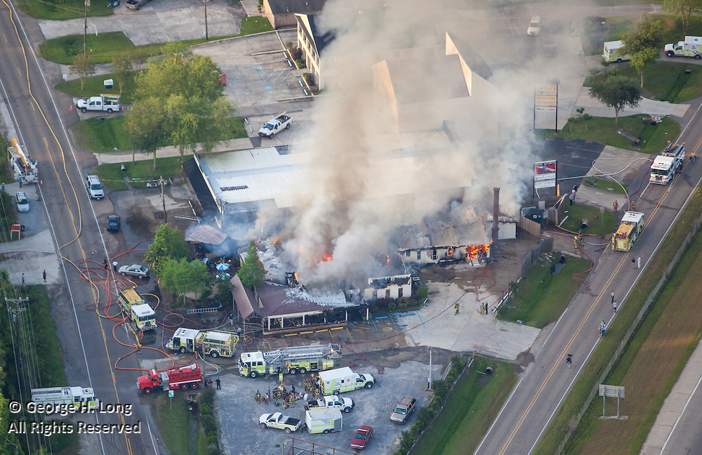 The Pointe restaurant fire aerial view; Mandeville, Louisiana