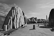 WASHINGTON (May 26, 2007) -- At the entry portal of the Martin Luther King Jr., Memorial, where two stones are parted and a single stone is pushed forward into the horizon, appears as the missing piece of what was once a single boulder. The central opening through the arc on the axis of the Jefferson and Lincoln Monuments places this memorial directly in line with larger democratic ideals that form the context for King's words and deeds. The memorial is envisioned as a quiet and receptive space, yet at the same time, powerful and emotionally evocative, reflecting the spirit of the message Dr. King delivered and the role he played in society.  To commemorate the life and work of Dr. Martin Luther King, Jr., the creation of a memorial to honor his national and international contributions to world peace through non-violent social change is happening in Washington, DC.  Located in West Potomac Park, the Martin Luther King, Jr. National Memorial looks to perform an official dedication on Sunday, August 28, 2011, the 48th anniversary of the March on Washington and Dr. King's historic I Have A Dream speech.  Photo by Johnny Bivera