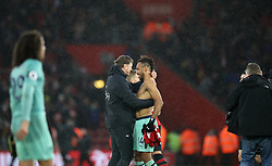 Southampton manager Ralph Hasenhuttl consoles Arsenal's Pierre-Emerick Aubameyang after the final whistle during the Premier League match at St Mary's Stadium, Southampton.