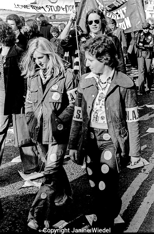 Student protest in London against Education cuts in schools and colleges. Fighting for fair grants. 1975
