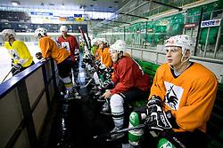 Klemen Sodrznik (R) at ice hockey practice of HDD Tilia Olimpija,  on October 16, 2008 in Arena Tivoli, Ljubljana, Slovenia.  (Photo by Vid Ponikvar / Sportal Images)