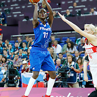 09 August 2012: France Emilie Gomis takes a jumpshot during the 81-64 Team France victory over Team Russia, during the women's basketball semi-finals, at the 02 Arena, in London, Great Britain.