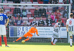 Dunfermline's Ryan Wallace scoring their third goal from the penalty spot, past Cowdenbeath's sub keeper Jamie Sneddon <br /> Dunfermline 5 v 1 Cowdenbeath, Scottish League Cup game played today at East End Park.