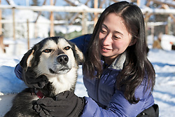 Visiting with huskies at Uncommon Journeys in the Ibex Valley near Whitehorse, Yukon, Canada