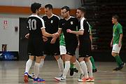 Capital player Alex Brodie celebrates a goal in the Mens Futsal Superleague match, Central v Capital, Pettigrew Green Arena, Napier, Saturday, September 28, 2019. Copyright photo: Kerry Marshall / www.photosport.nz