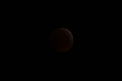 """The earth's shadow almost obliterates the full moon, leaving it glowing a faint, dull red as a lunar eclipse """"Blood Moon"""" is seen from Blackheath in South East London. LONDON, January 21 2019."""