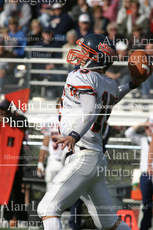 22 October 2005: Thunder QB Jeremy Chupp draws back to pass. The Illinois Wesleyan Titans posted a 23 - 14 home win by squeeking past the Thunder of Wheaton College at Wilder Field (the 5th oldest collegiate field in the US) on the campus of Illinois Wesleyan University in Bloomington IL