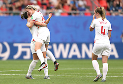 England's Ellen White (centre) celebrates scoring her side's second goal of the game with team-mate during the FIFA Women's World Cup, round of Sixteen match at State du Hainaut, Valenciennes.