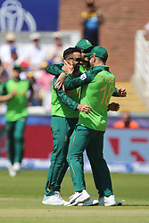 June 28, 2019 - Chester Le Street, County Durham, United Kingdom - JP Duminy celebrates with Faf du Plessis after bowling Sri Lanka's Dhananjaya de Silva during the ICC Cricket World Cup 2019 match between Sri Lanka and South Africa at Emirates Riverside, Chester le Street on Friday 28th June 2019. (Credit Image: © Mi News/NurPhoto via ZUMA Press)