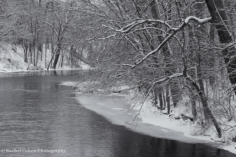 """""""Morning in White""""<br /> <br /> Enjoy the peace and tranquility of an early morning snowfall along the Huron River!"""