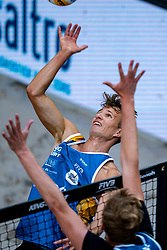 Yorick de Groot in action during the second day of the beach volleyball event King of the Court at Jaarbeursplein on September 10, 2020 in Utrecht.