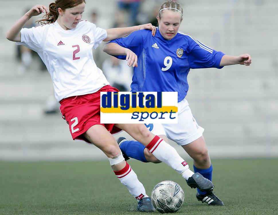 Fotball<br /> Four Nations Tournament Female U17<br /> 3rd place match<br /> Finland v Denmark 2-0 / Finland v Danmark 2-0<br /> 14.05.2006<br /> Foto: Morten Olsen, Digitalsport<br /> <br /> Tiia Tikkanen - SCR / FIN<br /> Freja Sønder - DEN
