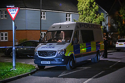 © Licensed to London News Pictures. 15/08/2021. Slough, UK. A police van at the scene following a double stabbing in Cippenham, Slough. Emergency services were called at approximately 17:00BST on Sunday 15/08/2021 to the Eltham Avenue area of Slough to reports that two male teenagers had been assaulted during an altercation between a number of youths. Both were taken to hospital with stab wounds. Photo credit: Peter Manning/LNP