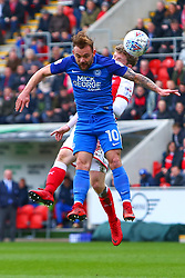 Danny Lloyd of Peterborough United heads the ball - Mandatory by-line: Ryan Crockett/JMP - 30/03/2018 - FOOTBALL - Aesseal New York Stadium - Rotherham, England - Rotherham United v Peterborough United - Sky Bet League One