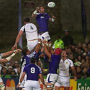 Kane Thompson, Samoa, wins a line out from Danie Rossouw, South Africa, during the South Africa V Samoa, Pool D match during the IRB Rugby World Cup tournament. North Harbour Stadium, Auckland, New Zealand, 30th September 2011. Photo Tim Clayton...
