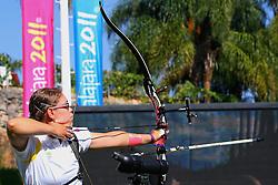 Sarah Nikitin durante as eliminatórias do tiro com arco nos jogos Pan-Americanos de Guadalajara 2011. FOTO: Jefferson Bernardes/Preview.com