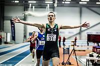 Friidrett<br /> NM Innendørs 2015<br /> Steinkjer 07.02.15<br /> Kartsen Warholm jubler for ny norsk innendørsrekord med 47.29<br /> <br /> <br /> Foto : Eirik Førde