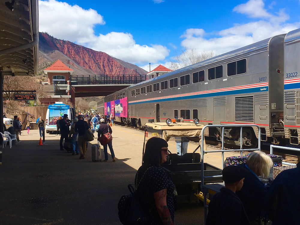Amtrak Zephyr at station in Glenwood CO
