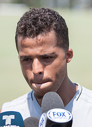 July 28, 2017 - Carson, California, U.S - Giovani dos Santos of the L.A. Galaxy talks to the media after their  practice at StubHub Center on Friday, July 28, 2017. Jonathan dos Santos joins the L.A. Galaxy. (Credit Image: © Prensa Internacional via ZUMA Wire)