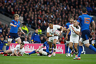Anthony Watson of England (C) breaks through during the RBS 6 Nations match at Twickenham Stadium, Twickenham<br /> Picture by Andrew Tobin/Focus Images Ltd +44 7710 761829<br /> 21/03/2015