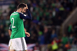 Northern Ireland's Conor McLaughlin reacts after conceding a goal during the 2018 FIFA World Cup Qualifying, Group C match at Windsor Park, Belfast.