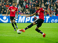 Football - 2017 / 2017 EFL (League) Cup - Fourth Round: Swansea City vs. Manchester United<br /> <br /> Jesse Lingard of Manchester United shoots at goal, at The Liberty Stadium.<br /> <br /> COLORSPORT/WINSTON BYNORTH