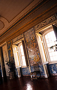 Interior of The National  Palace of Queluz,  Sintra, near Lisbon, Portugal -  furniture and room decoration with azulejos wall tiles