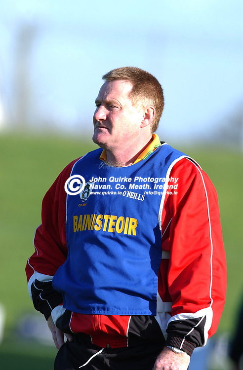 10-11-02.<br />NOBBER v DUNSANY - JFC Final at Pairc Tailteann.<br />Dunsany Manager.<br />Photo: John Quirke.
