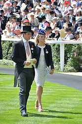 JAKE WARREN and his wife at the first day of the 2014 Royal Ascot Racing Festival, Ascot Racecourse, Ascot, Berkshire on 17th June 2014.