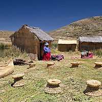 South America, Bolivia, Lake Titicaca. Floating reed islands of Lake Titicaca.