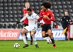 Kenji Gorre of Swansea City holds off Tahith Chong of Manchester United - Mandatory by-line: Craig Thomas/Replay images - 18/03/2018 - FOOTBALL - Liberty Stadium - Swansea, England - Swansea City U23 v Manchester United U23 - Premier League 2 - Divison 1