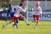 Fotball , <br /> Adeccoligaen , <br /> Seriekamp , <br /> Fredrikstad Stadio , <br /> Fredrikstad - Strømmen, <br /> 09.05.10 , <br /> Dosso Hassane (t.v) Agim Shabani og Hans Erik Ramberg<br /> Foto: Christoffer Andersen / Digitalsport ,