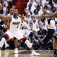 19 June 2012: Miami Heat shooting guard Dwyane Wade (3) defends during the Miami Heat 104-98 victory over the Oklahoma City Thunder, in Game 4 of the 2012 NBA Finals, at the AmericanAirlinesArena, Miami, Florida, USA.