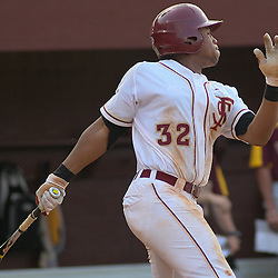 June 03, 2011; Tallahassee, FL, USA; Florida State Seminoles third baseman Sherman Johnson (32) hits a two run single during the fifth inning of the Tallahassee regional of the 2011 NCAA baseball tournament against the Bethune-Cookman Wildcats at Dick Howser Stadium. Mandatory Credit: Derick E. Hingle