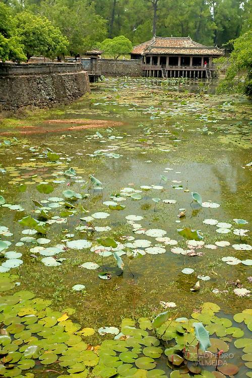 Oriental house near lake with lotus flowers