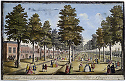 St James' Palace and Park, London, showing formal planting of trees in avenues. Men and women take the air and saunter along the walks in conversation. Hand-coloured engraving 1750 after picture by Jean Rigaud.