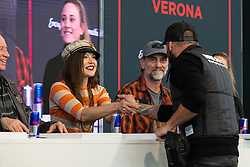 Radikal Choppers' customizer Andrea Radaelli of Italy thanks the judging panel after winning the 2020 MBE King of Verona award in the MBE award finals at Motor Bike Expo (MBE) bike show. Verona, Italy. Friday, January 17, 2020. Photography ©2020 Michael Lichter.