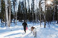 Permafrost scientist Kenji Yoshikawa together with his reindeer outside Fairbanks, Alaska.
