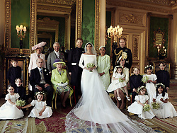 NEWS EDITORIAL USE ONLY. NO COMMERCIAL USE. NO MERCHANDISING, ADVERTISING, SOUVENIRS, MEMORABILIA or COLOURABLY SIMILAR. NOT FOR USE AFTER 31 DECEMBER 2018 WITHOUT PRIOR PERMISSION FROM KENSINGTON PALACE. NO CROPPING. Copyright in the photograph is vested in The Duke and Duchess of Sussex. Publications are asked to credit the photograph to Alexi Lubomirski. No charge should be made for the supply, release or publication of the photograph. The photograph must not be digitally enhanced, manipulated or modified in any manner or form and must include all of the individuals in the photograph when published. This official wedding photograph released by the Duke and Duchess of Sussex shows The Duke and Duchess in The Green Drawing Room, Windsor Castle, with (left-to-right): Back row: Master Jasper Dyer, the Duchess of Cornwall, the Prince of Wales, Ms. Doria Ragland, The Duke of Cambridge; middle row: Master Brian Mulroney, the Duke of Edinburgh, Queen Elizabeth II, the Duchess of Cambridge, Princess Charlotte, Prince George, Miss Rylan Litt, Master John Mulroney; Front row: Miss Ivy Mulroney, Miss Florence van Cutsem, Miss Zalie Warren, Miss Remi Litt.