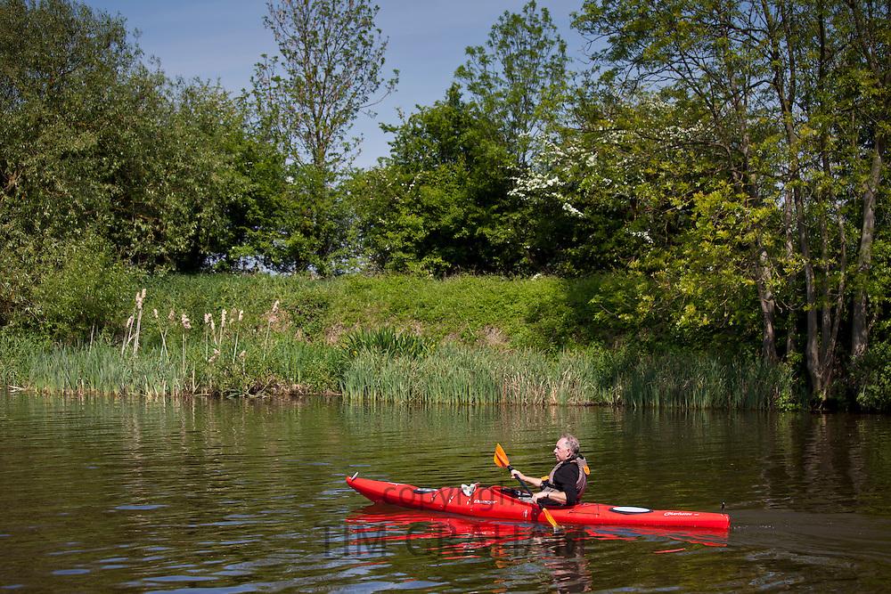 Kayaking on the River Thames in Berkshire, UK