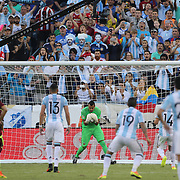 FOXBOROUGH, MASSACHUSETTS - JUNE 18:  Sergio Romero #1 of Argentina save Luis Manuel Seijas #13 of Venezuela soft penalty kick during the Argentina Vs Venezuela Quarterfinal match of the Copa America Centenario USA 2016 Tournament at Gillette Stadium on June 18, 2016 in Foxborough, Massachusetts. (Photo by Tim Clayton/Corbis via Getty Images)
