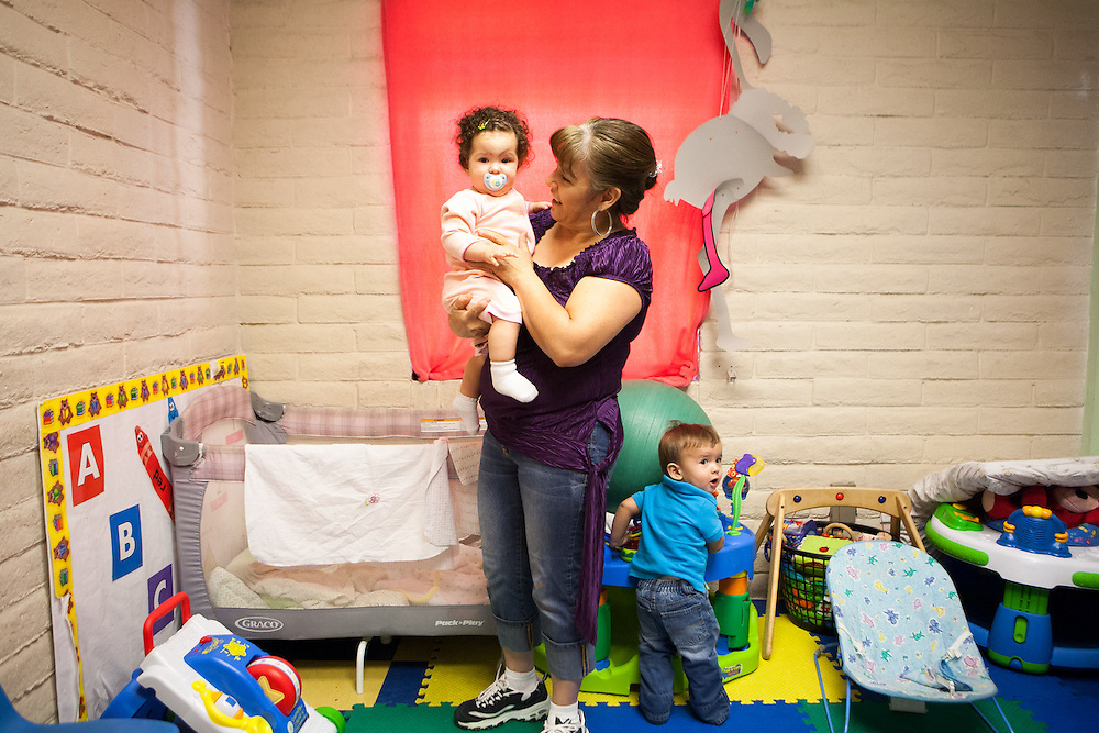 Enlace Comunitario employee daycare provide counseling , legal and other services to Latina immigrant victims of domestic violence. The staff daycare is now in its second year and came about because a staff members were considering leaving in order to stay at home with their children.